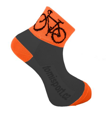 ponožky - CYKLISTICKÉ fluo černo-oranžová 43 - 46